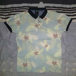 Cotton On Floral/Palm Polo Shirt (S)