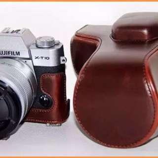 Coffee PU Leather Camera Case Bag Fujifilm Xt10