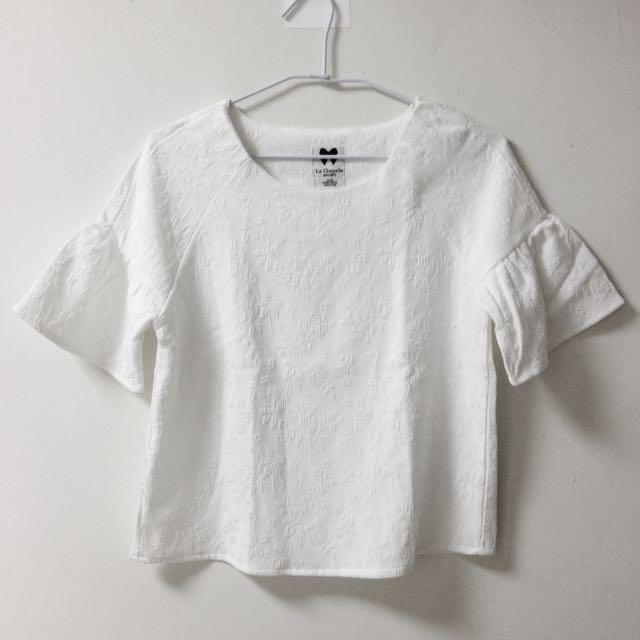 白色花紋寬袖短上衣