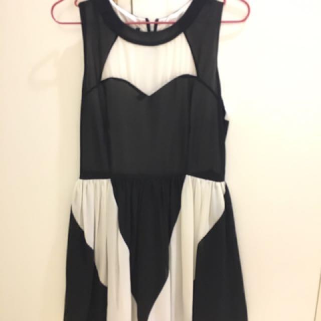 黑白配小性感洋裝