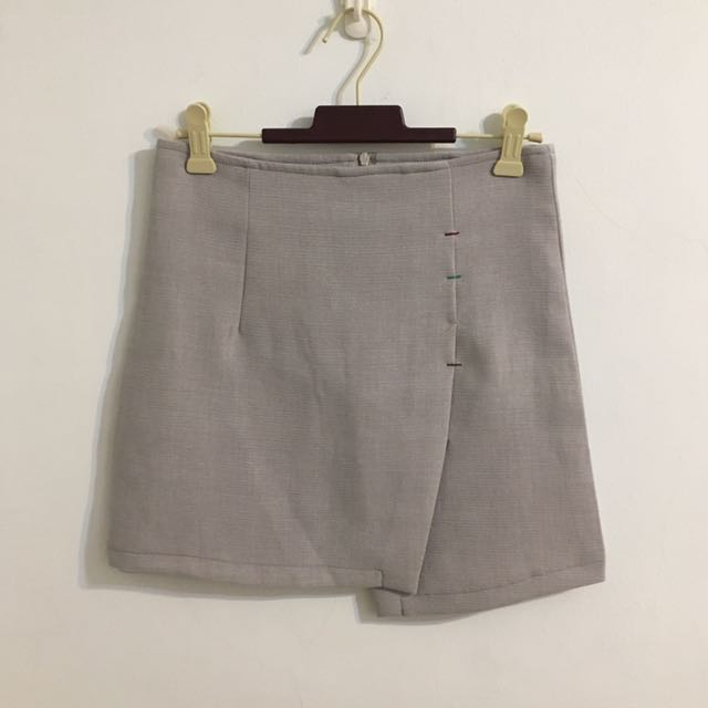 灰色不規則可愛縫線窄裙