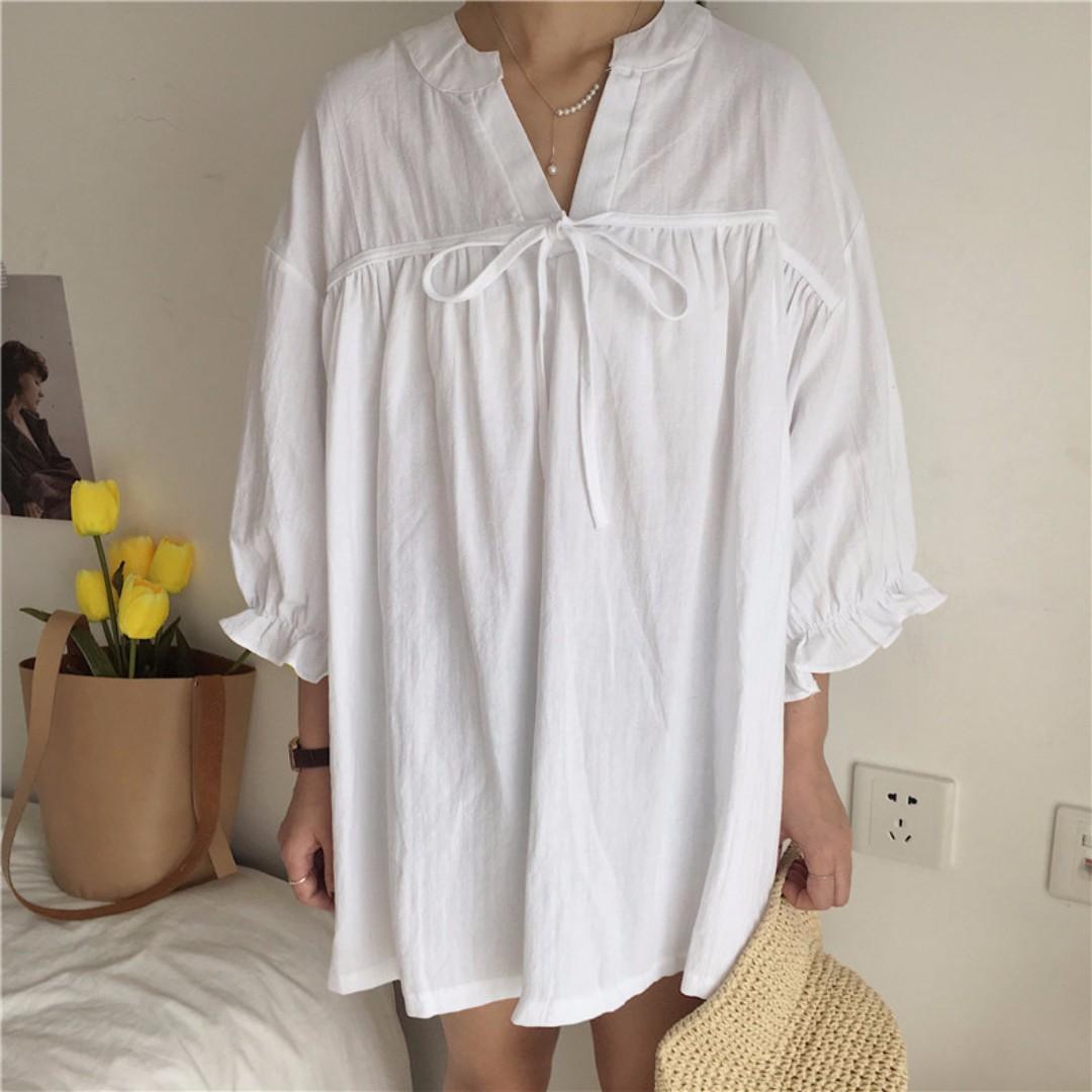 五分荷葉邊袖綁帶寬鬆連身裙