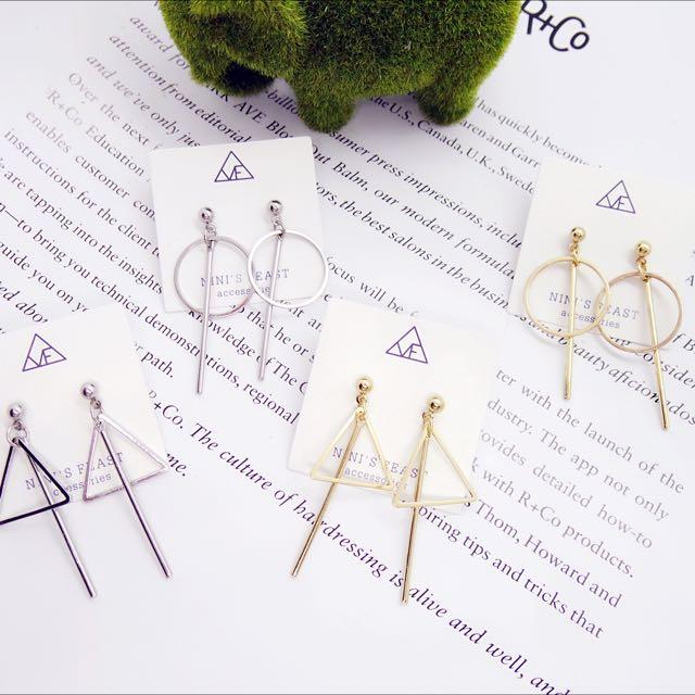 簡約百搭幾何圖形垂釣耳環