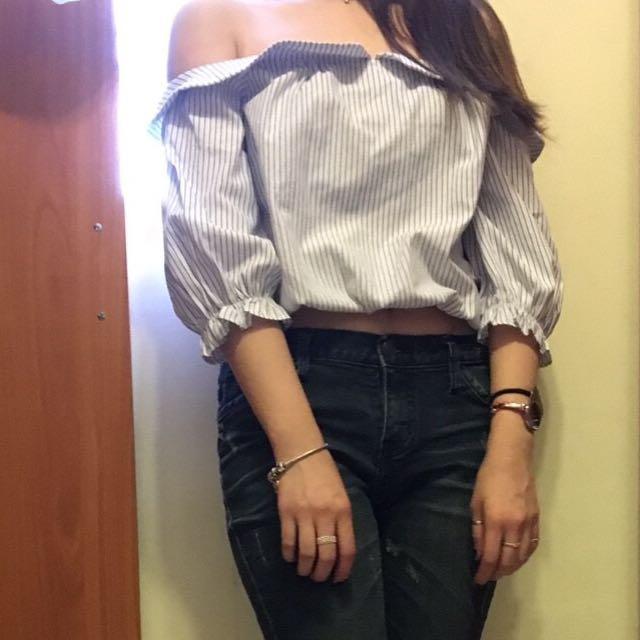 平口條紋短上衣