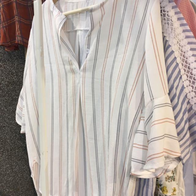 韓系條紋襯衫