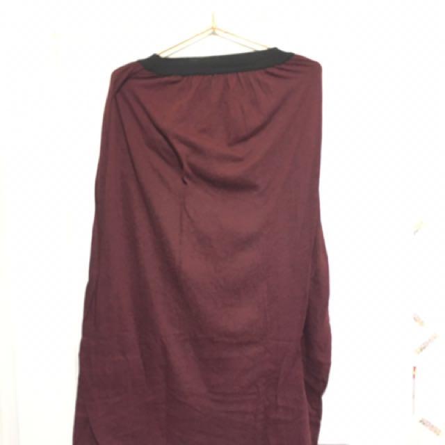 酒紅 棉裙