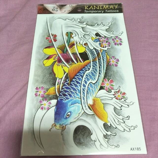 蓮花鯉魚 刺青貼紙