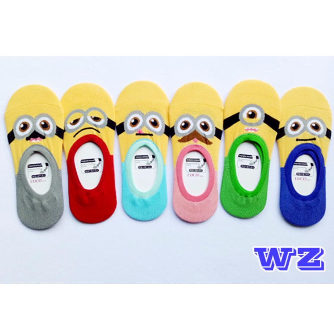 韓國襪子 小小兵表情隱形襪 任選3雙$150  WZ時尚小舖