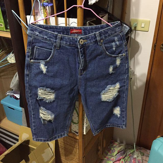 五分褲 牛仔褲 刷破褲
