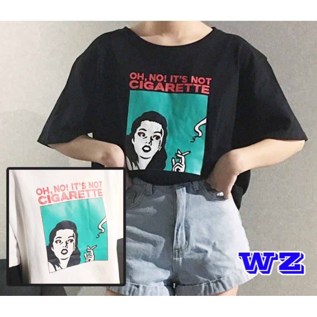 韓版 綠底抽菸女上衣 夏季新款 短袖 T恤 WZ時尚小舖