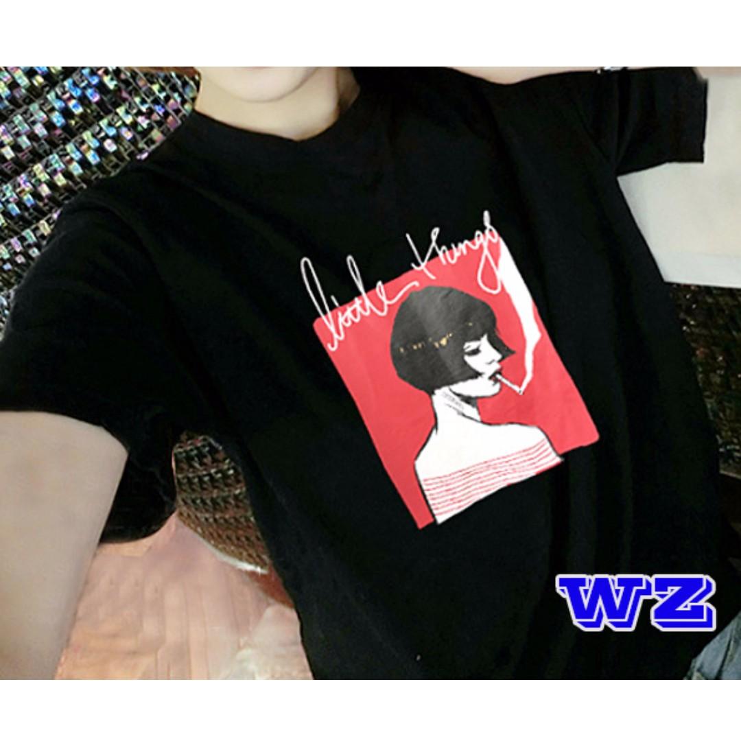 韓版 抽菸女紅底短袖上衣 夏季新款 T恤 WZ時尚小舖