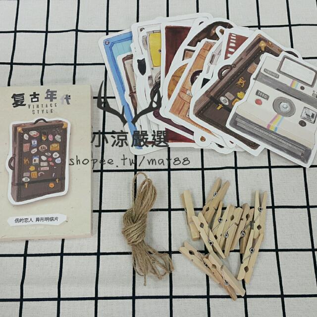 現貨💐 回憶復古年代明信片套組 文青 zakka 便籤便條紙memo 木夾 書桌辦公桌房間佈置 拍照小物