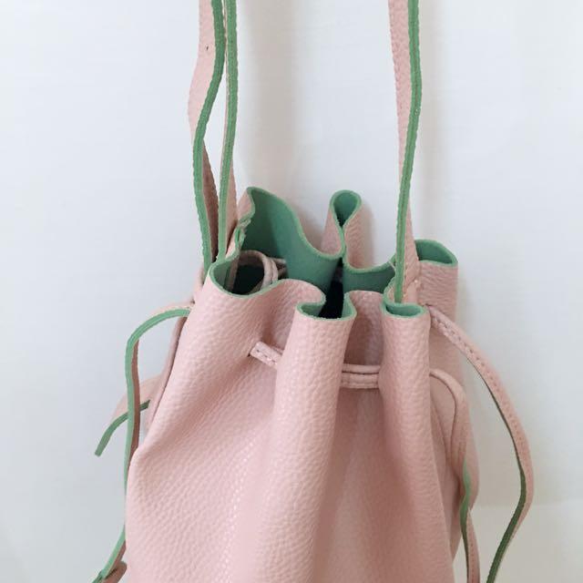 雙色水桶包 附小零錢包 粉紅x粉綠