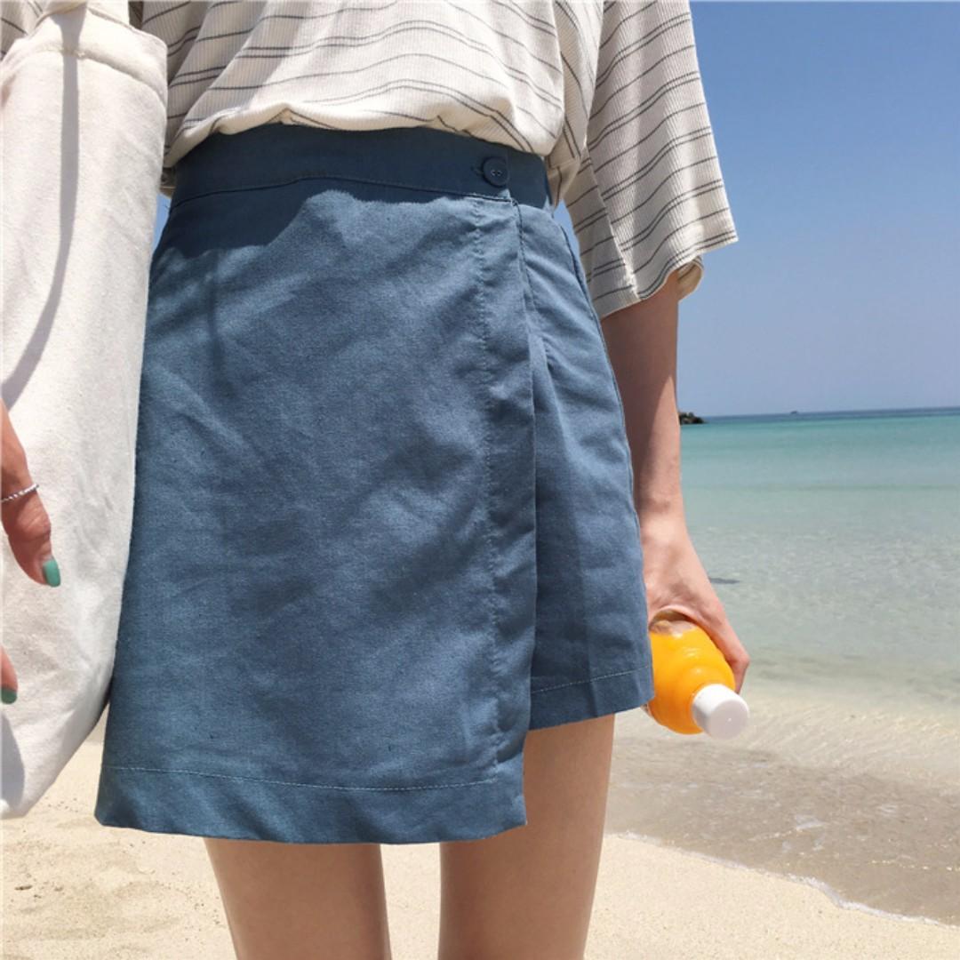 高腰A字褲裙(藍色)