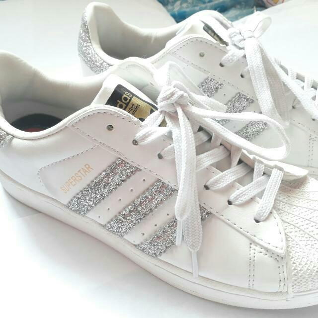 originali adidas superstar scarpe donne bianco argento, preloved