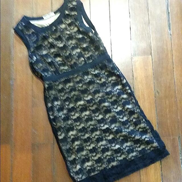 Angel & Wing Black And Cream Medium Dress With Black Knit Pattern
