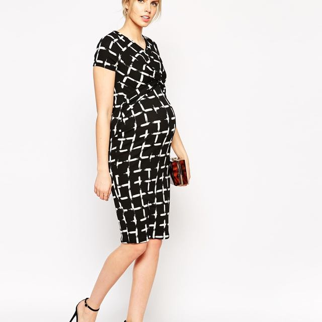 ffd7dca0c6f0c ASOS Maternity Textured Bodycon Dress In Check Print, Babies & Kids ...