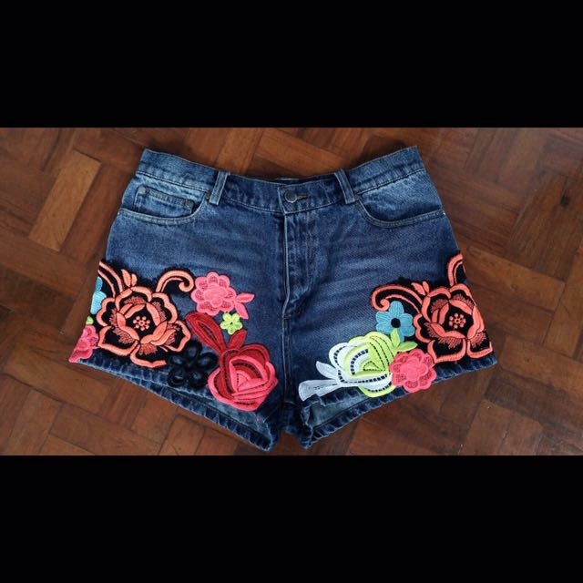 Authentic Valentino Roma Embroidered Denim Shorts