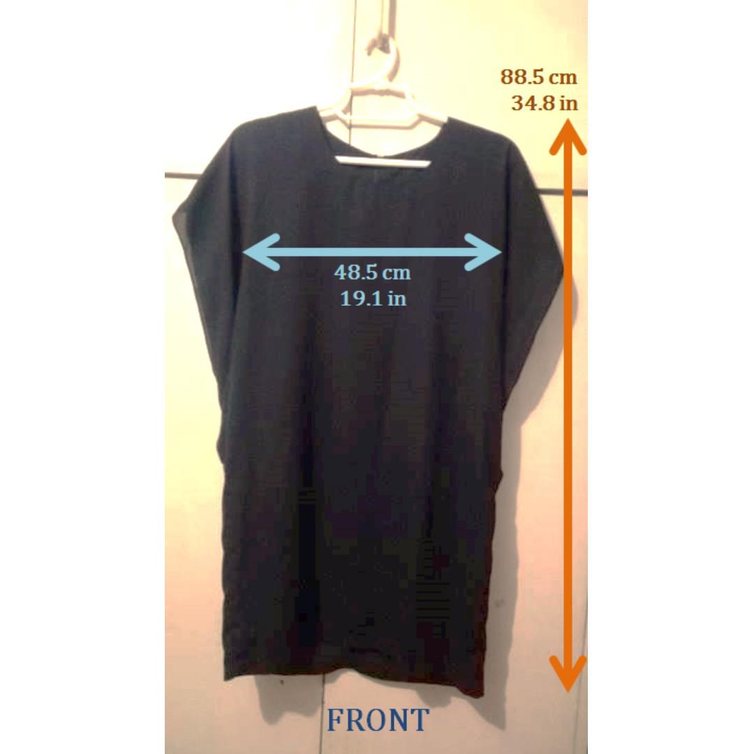 Black Cotton/Polyester Tunic Dress
