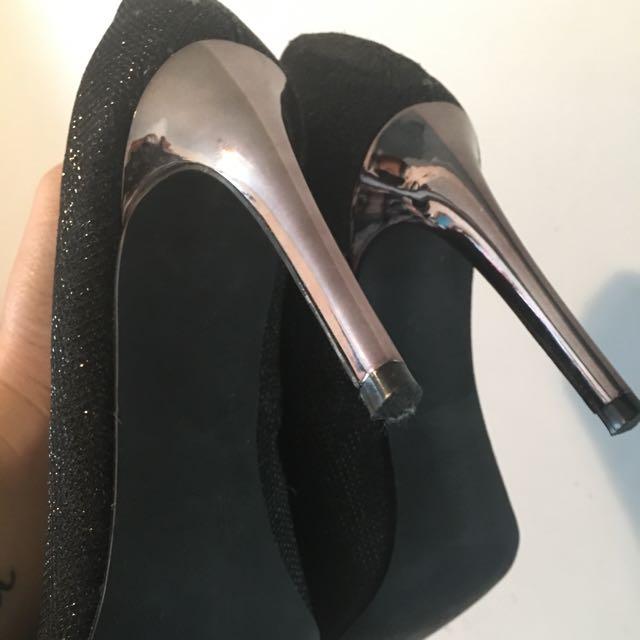 Black Glittered Heels