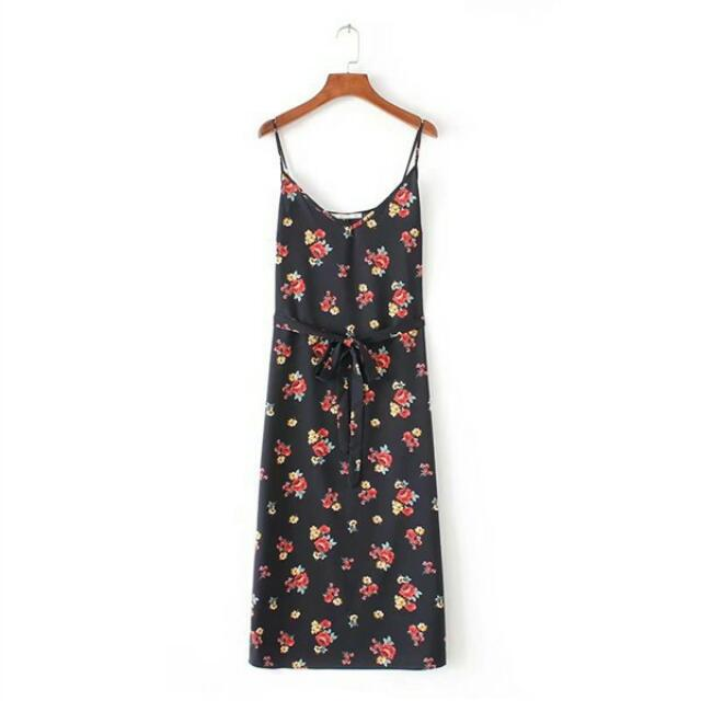 Black Rose Strap Dress