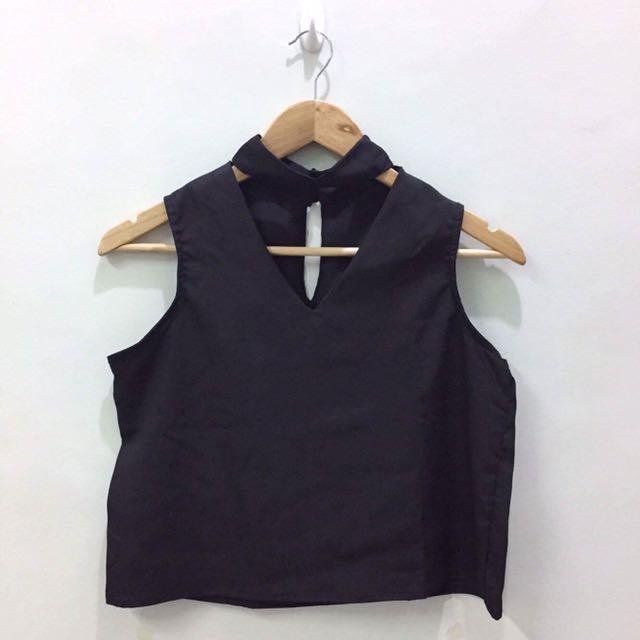 Black Sleeveless Crop Top w/ Choker Detail