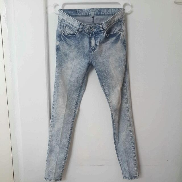 Blue Acid Wash Jeans UK 8