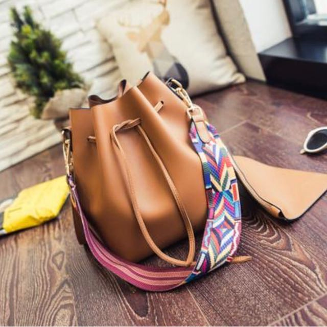 Brown Soft Bucket CrossBody Bag