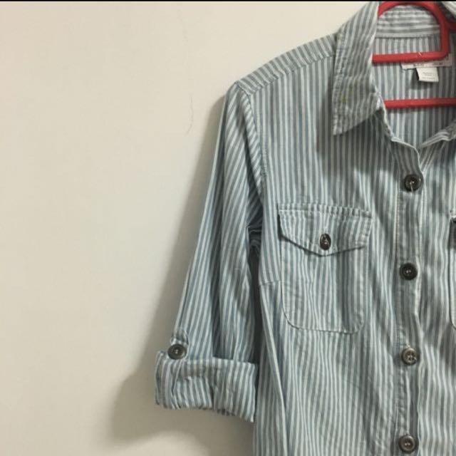 Cotton On Light Blue Striped Collar Shirt