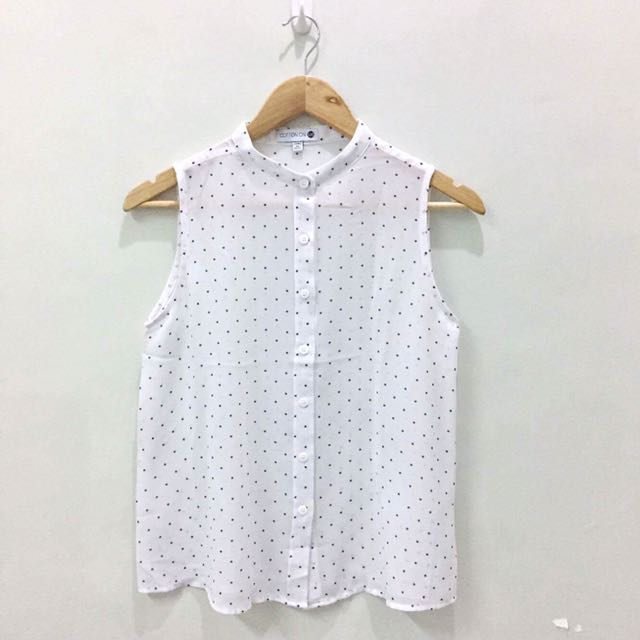 Cotton On Sleeveless Polka-dot Top