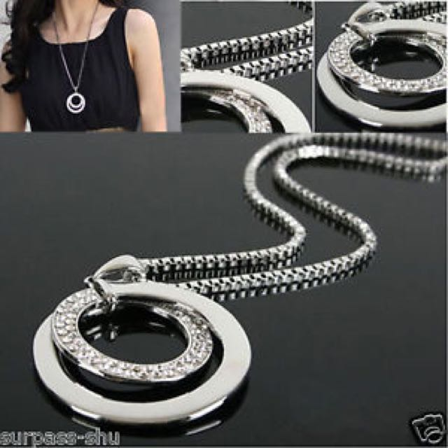 Crystal Drill Rhinestone Silver Plated Long Chain Necklace