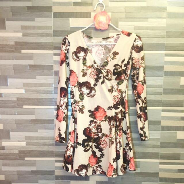 Dress Floral Cream (Korean Dress)