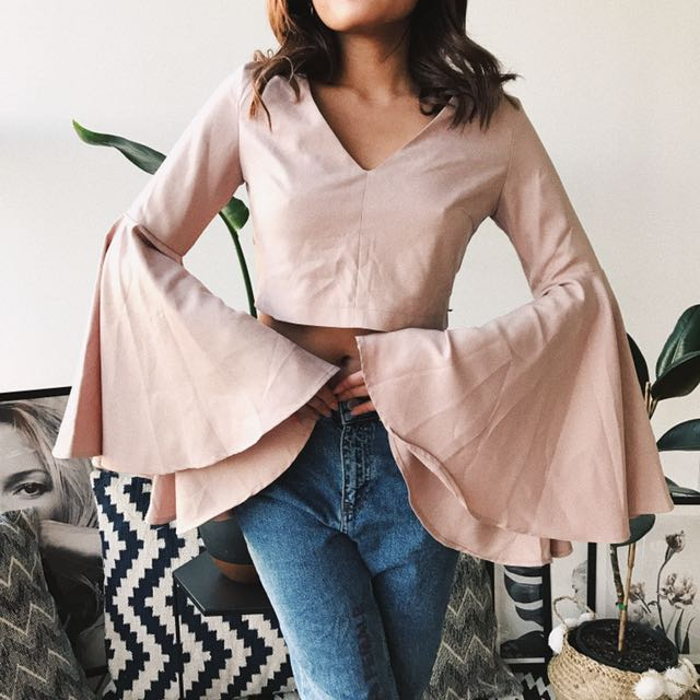 Dusty Pink Crop Top With Flare Sleeves