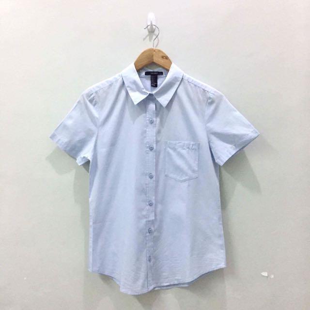 F21 Light Blue Short-sleeved Button-down