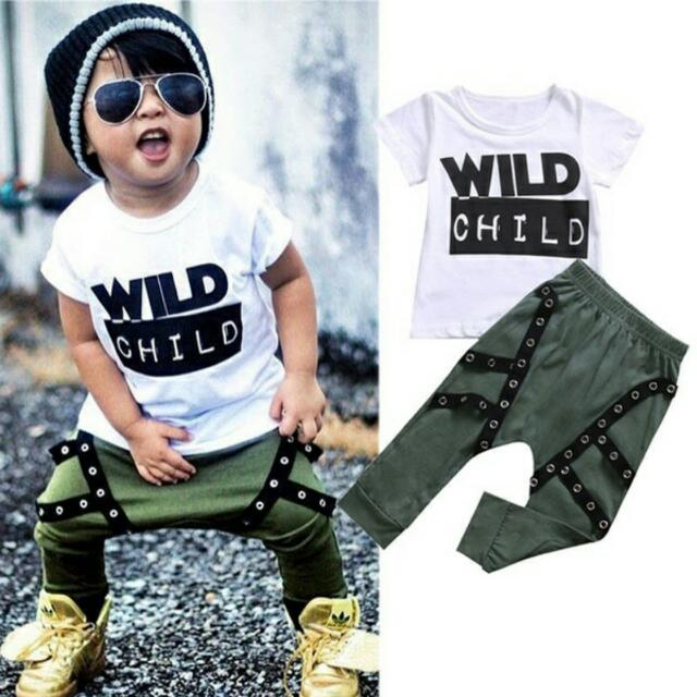 e31ccef911e0 Fashion Toddler Kid Baby Boys Wild Child T-shirt Top+Long Pants ...
