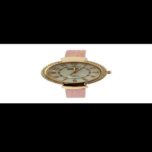 Fashionable Gray Pink White Black Colors Leather Strap Women's Quartz Watch