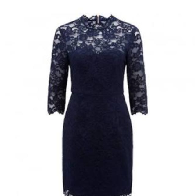 Forever New Lace Dress In Navy