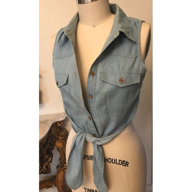 FREE button up denim top
