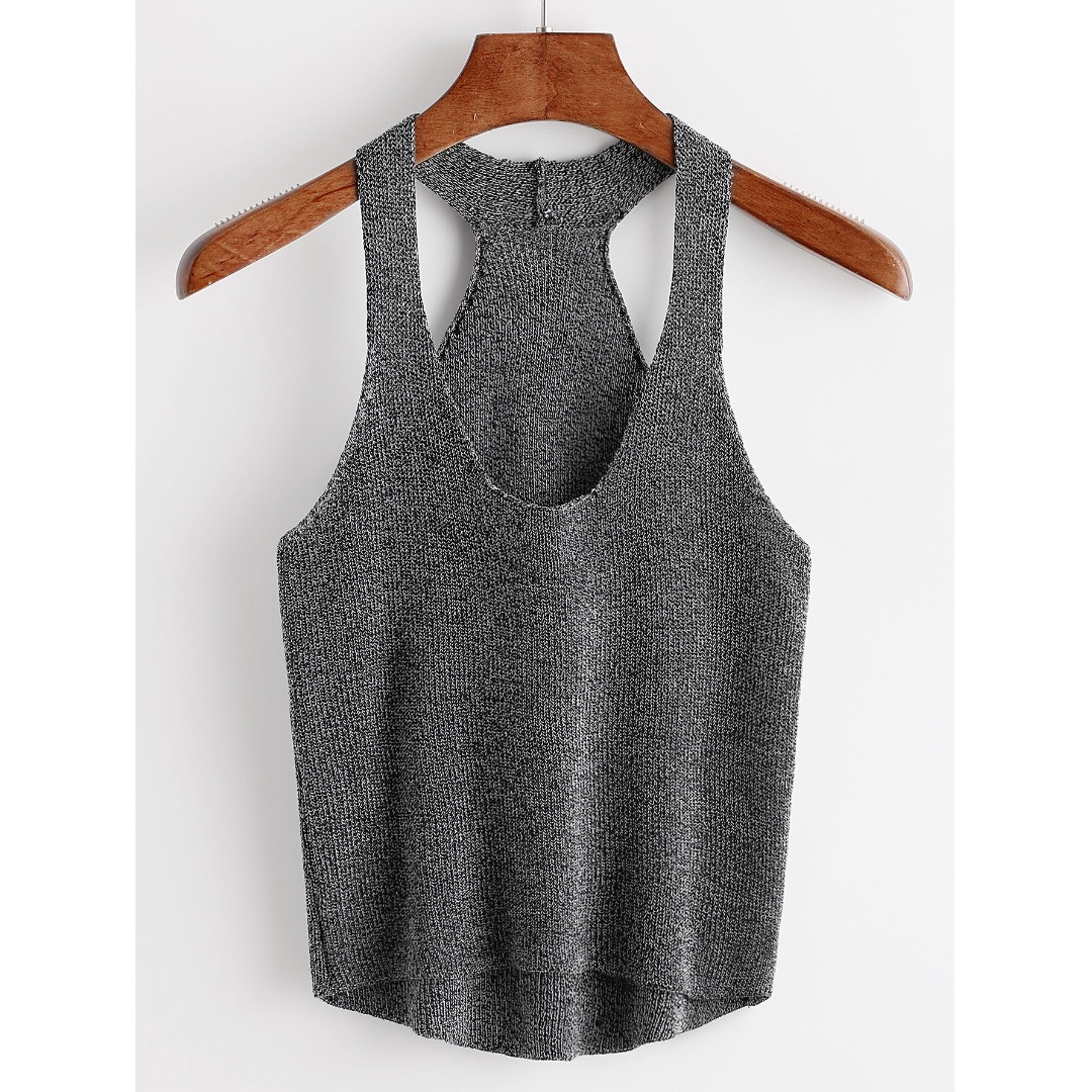 Grey Cropped High Low Tank Top