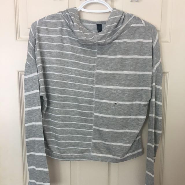 Grey Striped Cropped Hoodie