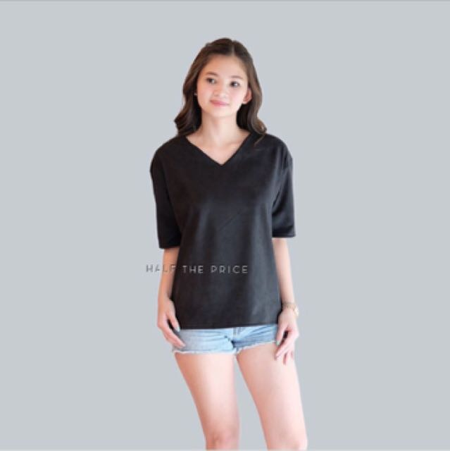 HTP Black Suede Vneck Top