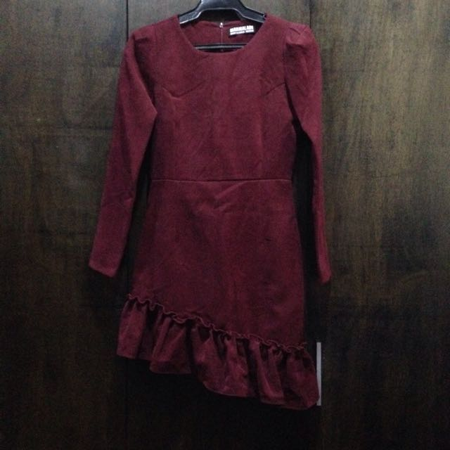 KOREAN Maroon Dress