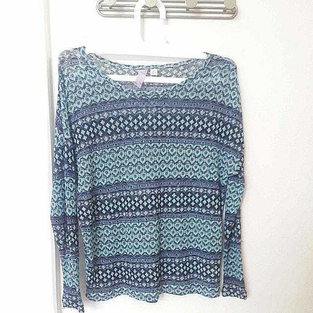 Long Sleeved Tribal Sweater Size S