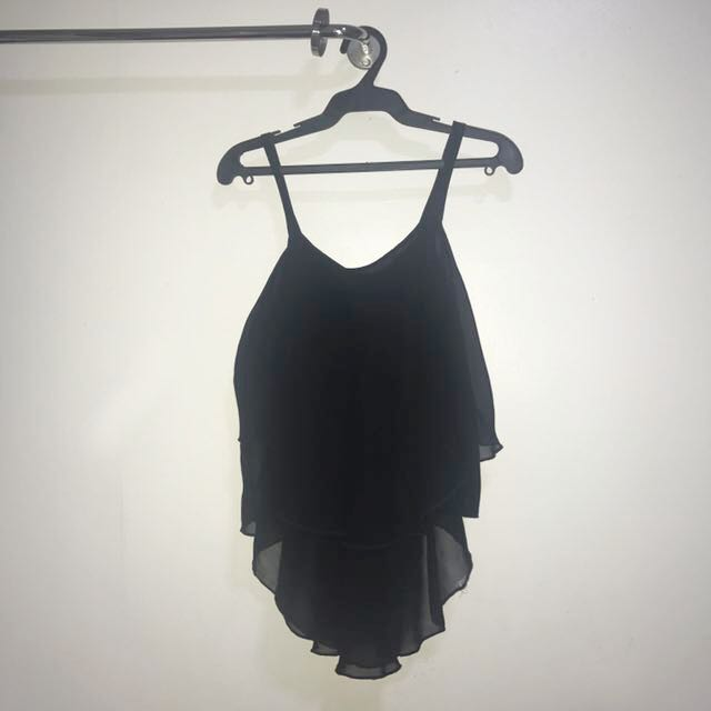 Loose Black Chiffon Sleeveless Top