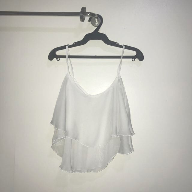 Loose White Chiffon Sleeveless Top