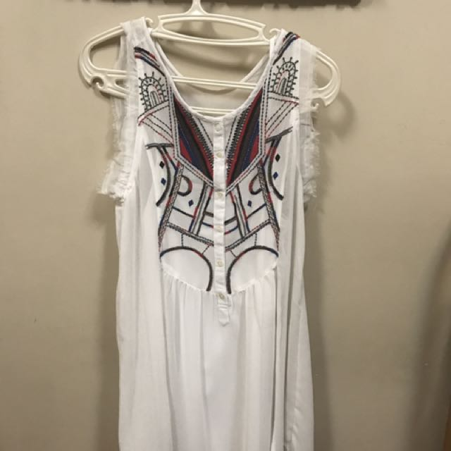 Mango Casual White Chiffon Dress With Embroidered Detail