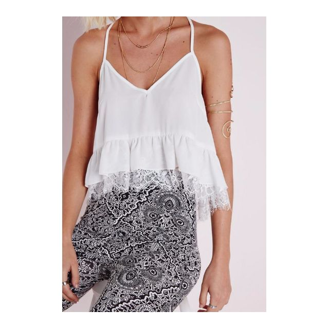 Missguided White Lace Crop Cami Sz 8