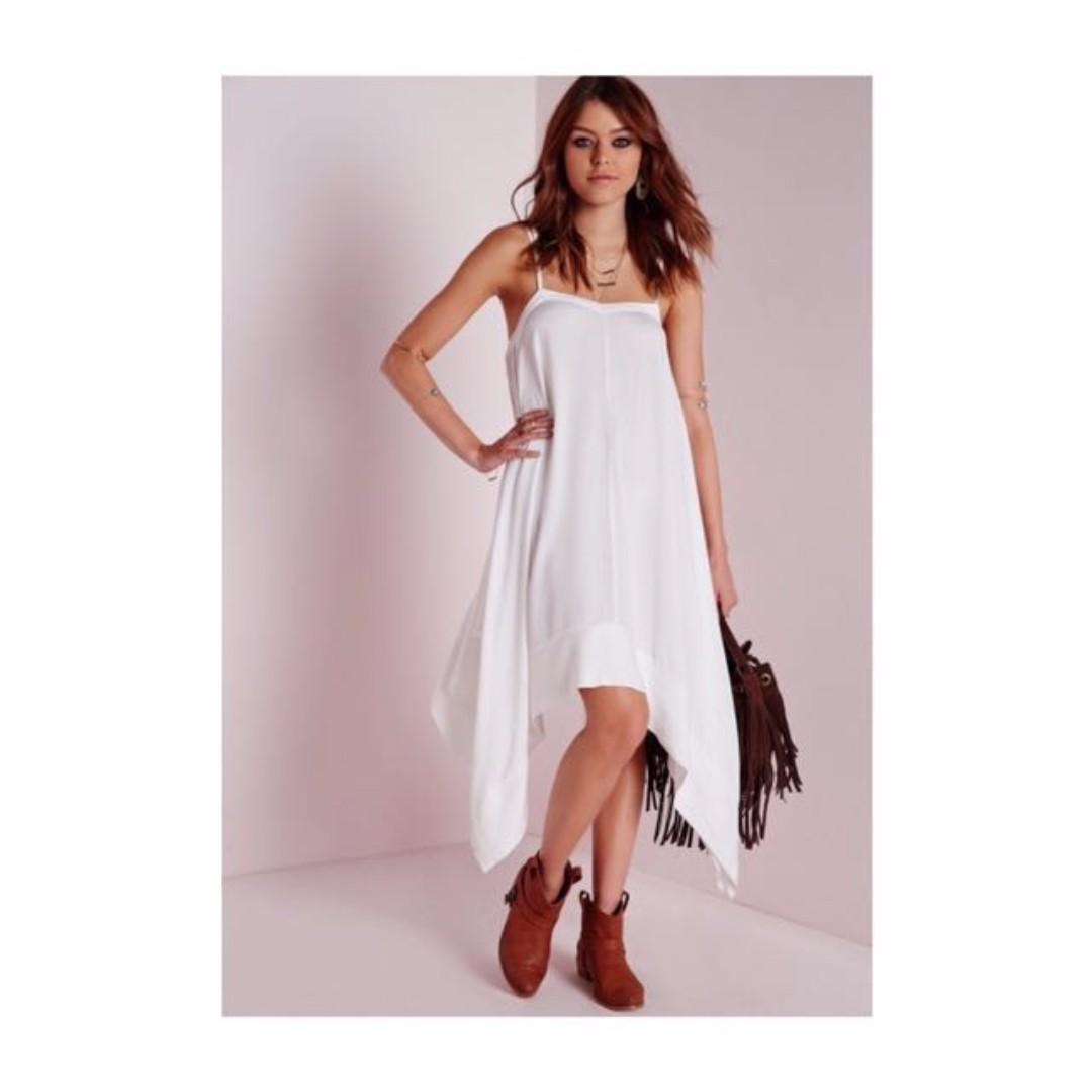Missguided White Loose Boho Dress Sz 8