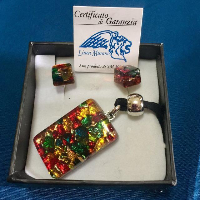 Murano Earrings & Necklace Set
