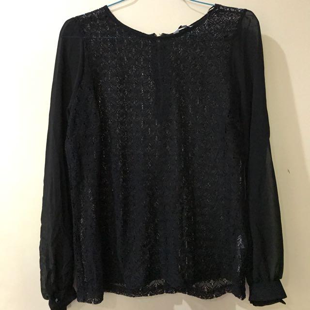 New Look Black Lace Chiffon Top